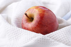 Perfect apple. Covered by white cloth Stock Image