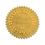 Perfect Attendance Seal. Gold Star Foil Seal Perfect Attendance Isolated on White Background stock photography