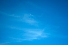 Perfect Azure Summer Sky. An azure blue sky with light streaks of cirrus clouds Stock Photography