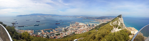 Perfect background panoramic view on top of the Rock of Gibraltar, the Atlantic Ocean, the Strait of Gibraltar and the city Royalty Free Stock Photography