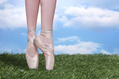 Perfect Ballet Dancer En Pointe With Copy Space Royalty Free Stock Images