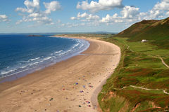 The perfect beach. Rohossili bay in the gower peninsula (south wales UK) in summer stock image