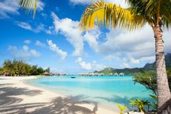 Perfect beach on Bora Bora Stock Images