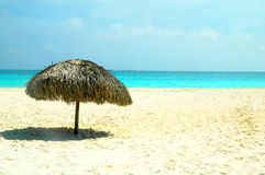 Perfect beach with parasol. The perfect beach of cuba. Blue sea and white sand Stock Photo