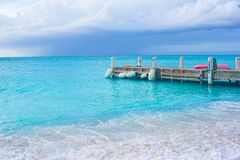 Perfect beach with pier at caribbean island in Royalty Free Stock Image