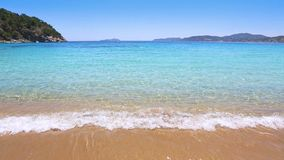 Perfect beach in turquoise aqua color and the waves. In the shore sand stock video