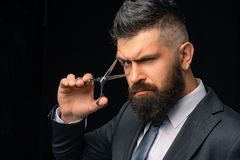 Perfect beard. Haircuts for men. Stylish and hairstyle. Hair salon and barber vintage. Barber shop. Barber on black. Background with scissors stock photo