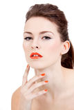 Perfect beauty woman face with orange lips isolated Royalty Free Stock Image