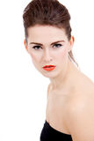 Perfect beauty woman face with orange lips isolated Stock Images
