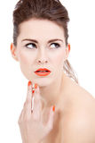 Perfect beauty woman face with orange lips isolated Royalty Free Stock Images