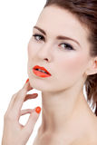 Perfect beauty woman face with orange lips isolated Royalty Free Stock Photography