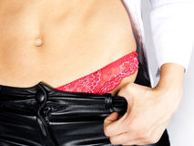 Perfect belly of woman in red panties Stock Image