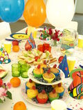 Perfect birthday party. Laid table for perfect birthday party, balloons Royalty Free Stock Photo