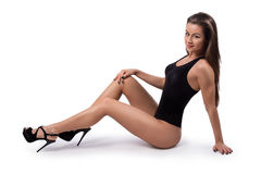 Perfect blonde fitness woman in black lingerie Royalty Free Stock Photography