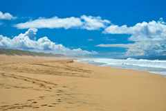 Perfect blu sky in hawaian beach. Polihale Beach on Kauai, Hawaii near militar zone of Barking Sand and Na Pali Coast. There is great blu sky with clouds Stock Images