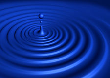 Perfect blue droplet. Emitting wave formation stock illustration