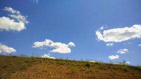 Perfect blue sky with overcast clouds along the road stock footage