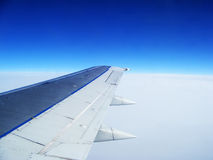 Perfect Blue Sky from a Plane Window Royalty Free Stock Image