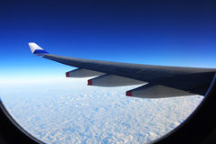 Perfect Blue Sky from a Plane Window Royalty Free Stock Photos