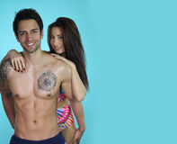 Perfect bodies couple smiling Royalty Free Stock Photo