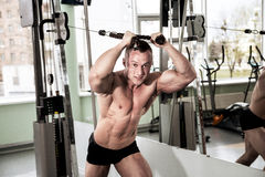 Perfect body athletic man. Perfect body of young handsome man. Athletic powerful person diligently engaged in the gym, doing exercises on the simulator devices Royalty Free Stock Photo