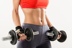 Perfect Body And Dumbbells Stock Photos