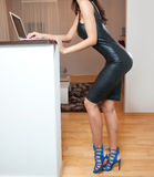 Perfect body woman in short tight fit leather dress working on the laptop in living room. Side view of sensual young female. With long legs standing in front of Stock Photos