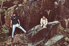 Perfect boots for hiking. Couple in love on summer vacation. Sexy woman and bearded man on natural landscape. Couple. Perfect boots for hiking. Couple in love on royalty free stock photo