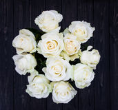 Perfect bouquet of creme luxurious roses for wedding, birthday or Valentine`s day. Top view Royalty Free Stock Photo