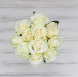 Perfect bouquet of creme luxury roses for wedding, birthday or V Stock Photos