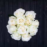 Perfect bouquet of creme luxury roses for wedding, birthday or Valentine`s day. Top view Stock Photography