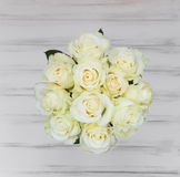Perfect bouquet of creme luxury roses for wedding, birthday or Valentine`s day. Top view Royalty Free Stock Images