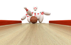 Perfect Bowling Strike. 3d illustration Royalty Free Stock Images