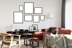 Mock up posters in living room interior. Interior scandinavian style. 3d rendering, 3d illustration stock illustration
