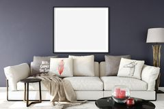 Mock up posters in living room interior. Interior scandinavian style. 3d rendering, 3d illustration. Perfect for Branding your creation or business. Interior Stock Images