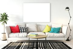Mock up posters in living room interior. Interior scandinavian style. 3d rendering, 3d illustration. Perfect for Branding your creation or business. Interior Stock Photos
