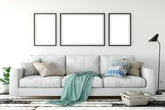 Mock up posters in living room interior. Interior scandinavian style. 3d rendering, 3d illustration. Perfect for Branding your creation or business. Interior Stock Photo