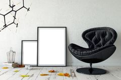 Mock up posters in living room interior. Interior scandinavian style. 3d rendering, 3d illustration. Perfect for Branding your creation or business. Interior Royalty Free Stock Photography