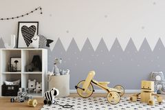Mock up wall in child room interior. Interior scandinavian style. 3d rendering, 3d illustration Stock Photos