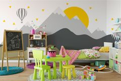 Mock up wall in child room interior. Interior scandinavian style. 3d rendering, 3d illustration Royalty Free Stock Photography
