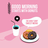 Perfect breakfast Donuts Coffee background Modern flat isometric design style Stock Photos