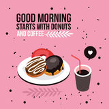 Perfect breakfast Donuts Coffee background Modern flat isometric design style Stock Photo