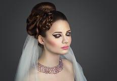 Perfect Bride close up make up hair dress Royalty Free Stock Image