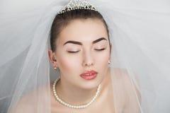 Perfect Bride close up make up hair dress Royalty Free Stock Photo