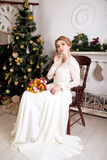 Perfect bride. Young beautiful girl lady woman model bride. Christmas wedding new year holiday event. Perfect natural makeup, elegant hairstyle, long white dress Royalty Free Stock Images
