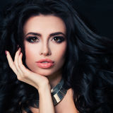 Perfect Brunette Woman with Hairstyle, Makeup, Healthy Skin Royalty Free Stock Photo