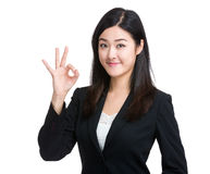 Perfect - business woman showing OK hand Royalty Free Stock Photo