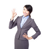 Perfect - business woman showing OK hand sign Royalty Free Stock Photography