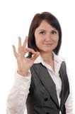 Perfect business woman showing OK Stock Photos