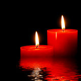 Perfect candles. Over rendered water Royalty Free Stock Photos